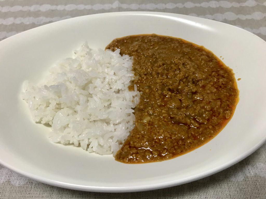 ご飯とインドキーマカレー