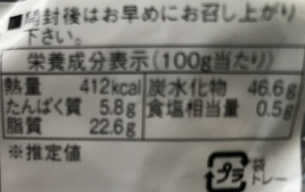 わらく堂 クリームあんドーナツの栄養成分表示、カロリー