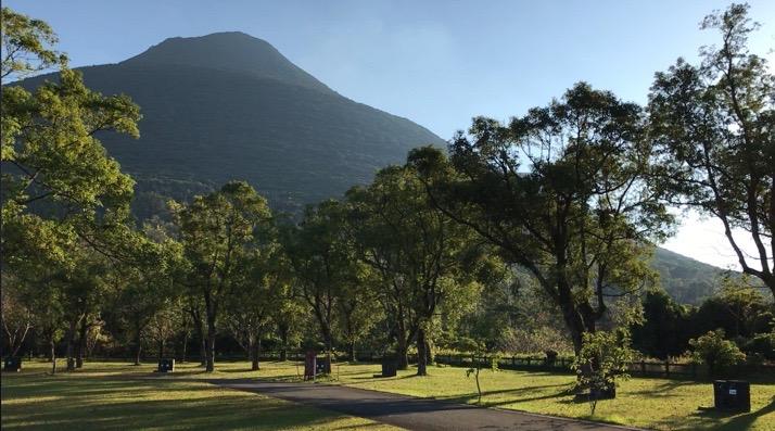 かいもん山麓ふれあい公園キャンプ場のオートサイトからの景色