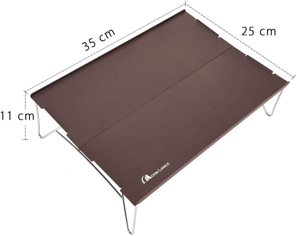 Moon Lence アウトドアテーブル ミニローテーブル ソロキャンプ コンパクト 折りたたみ式 アルミ製 超軽量465g 収納袋付き