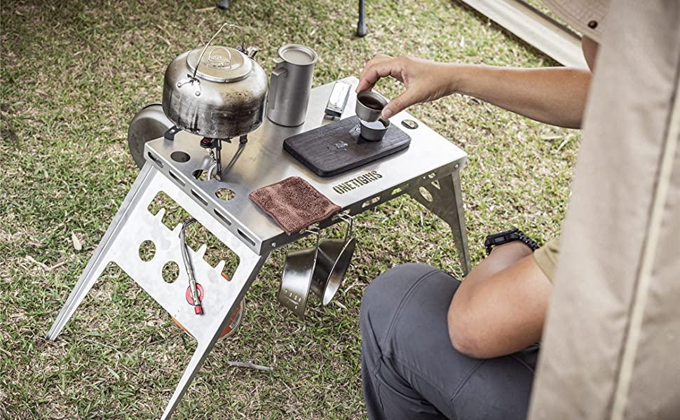 OneTigris ワンティグリス アウトドアテーブル ミニローテーブル キャンプ テーブル 折畳テーブルアルミ製