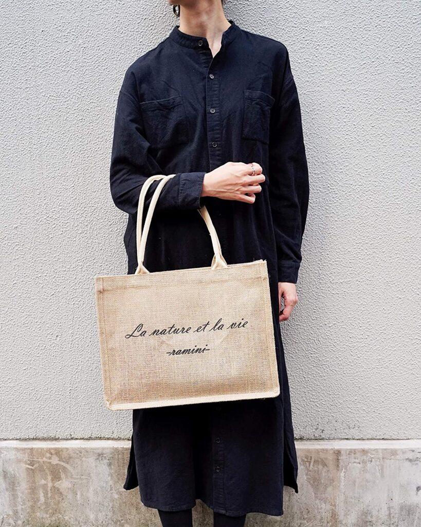 LAMINI ジュート トートバッグ, 手提げ袋 シンプル ナチュラル、買い物バッグ、エコバッグ